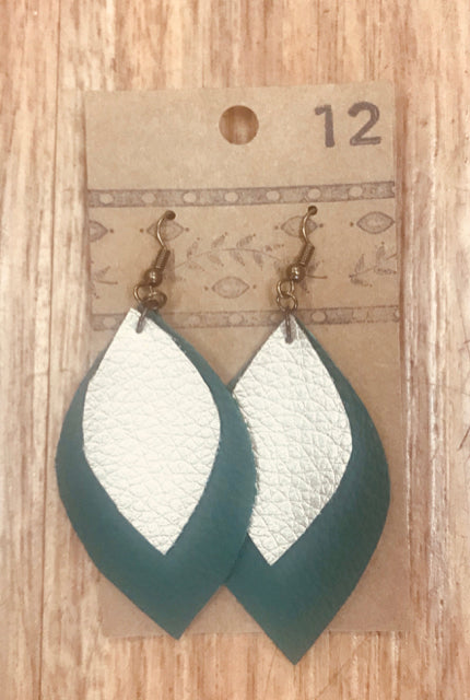 HANDCRAFTED LEATHER EARRINGS TEAL/GOLD - wearhouseconsignment