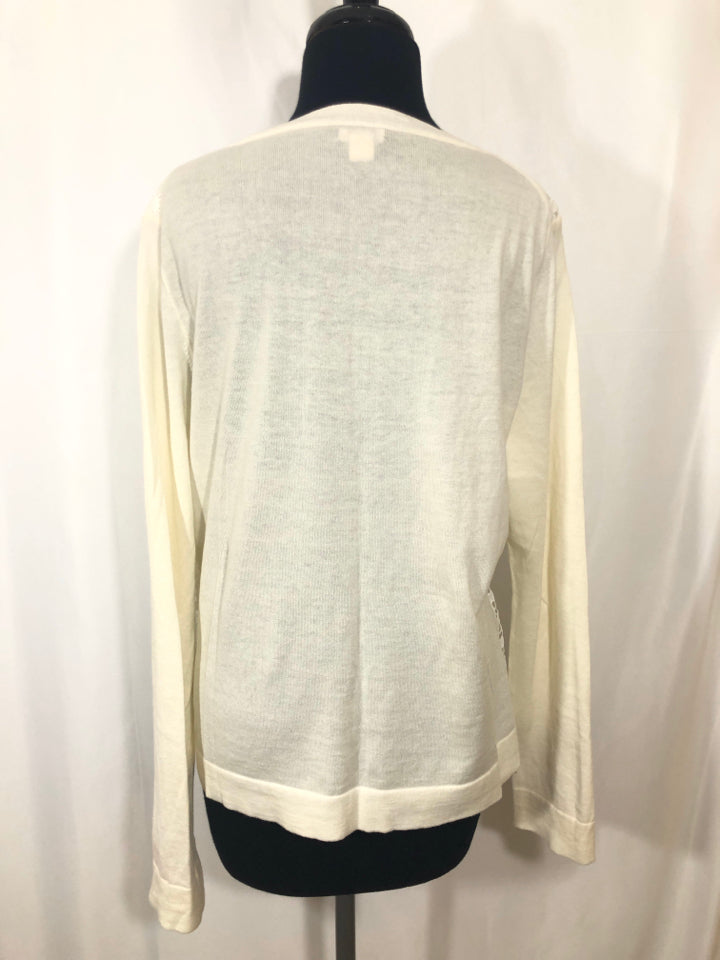 JCREW LACE ACCENT LIGHT KNIT SCOOP NECK SWEATER SIZE L - wearhouseconsignment