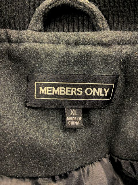 MEMBERS ONLY WOOL VARSITY JACKET BLACK XL