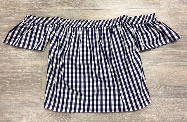 MILLY BLUE/WHITE COLD SHOULDER TOP