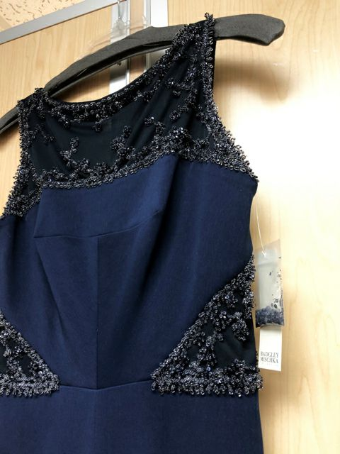BADGLEY MISCHKA EMBELLISHED NAVY GOWN SZ 0