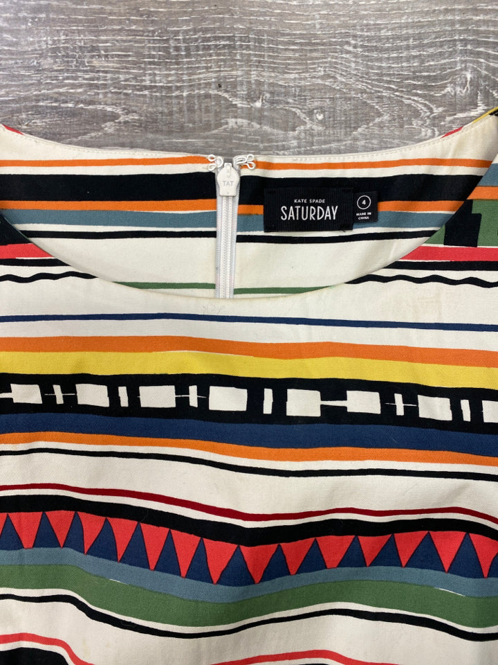 KATE SPADE SATURDAY STRATA STRIPE MIDI DRESS SIZE 4