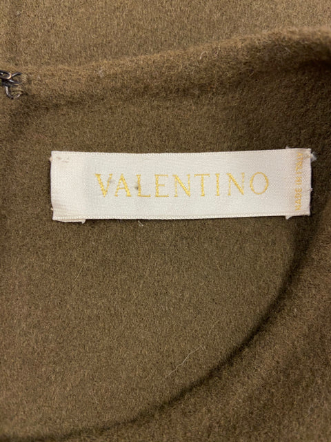VINTAGE VALENTINO FELT WOOL DRESS BROWN SIZE 10