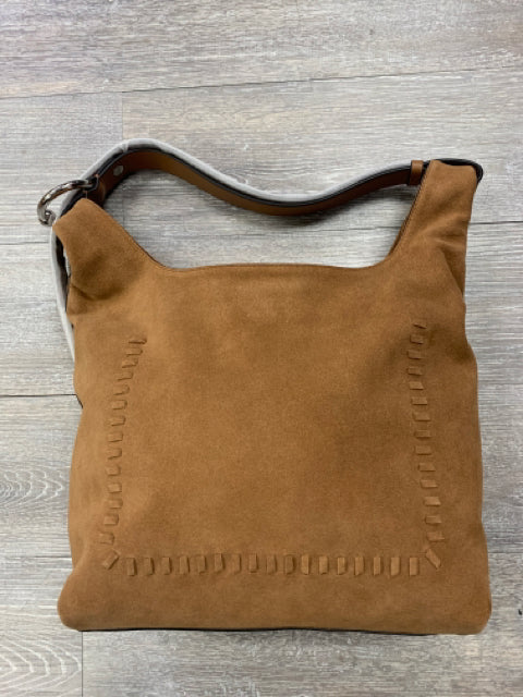 REBECCA MINKOFF KARLIE WHIPSTITCH SUEDE HODO SADDLE BROWN