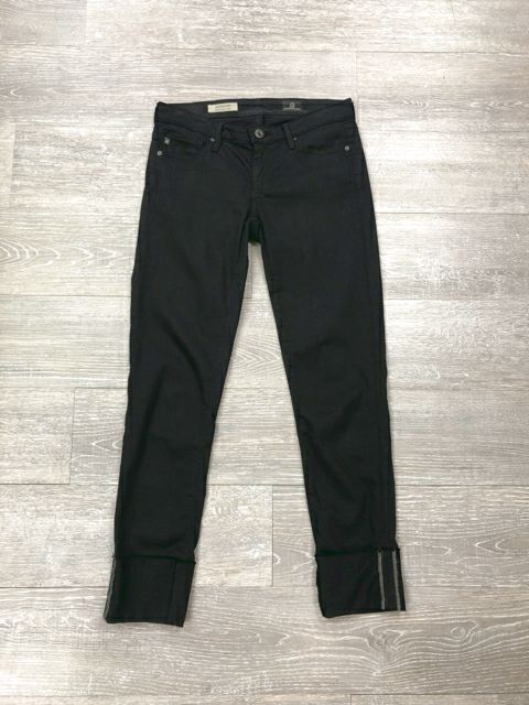 AG ADRIANO GOLDSCHMIED STEVIE CUFF BLACK JEANS 24