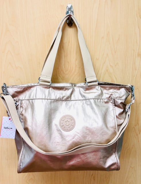 NWT KIPLING NEW METALLIC SHOPPER TOTE W/O MONKEY - wearhouseconsignment