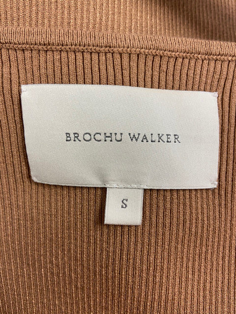 BROCHU WALKER BROWN FAUX WRAP TOP SMALL