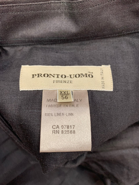 NEW! ITALIAN PRONTO UOMO LINEN BUTTON DOWN SIZE XXL