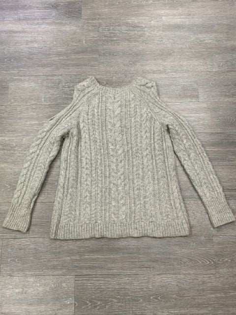SOFT SURROUNDINGS COZY CABLE KNIT COLD SHOULDER SWEATER SIZE M
