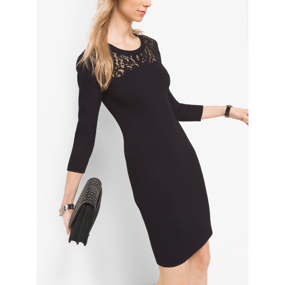 MICHAEL KORS LACE RIBBED DRESS - wearhouseconsignment