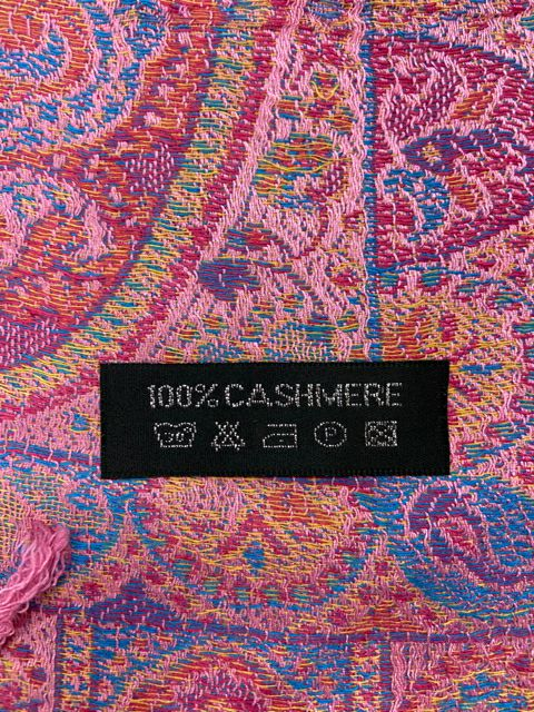 100% CASHMERE SCARF PINK PAISLEY FINE WOVEN