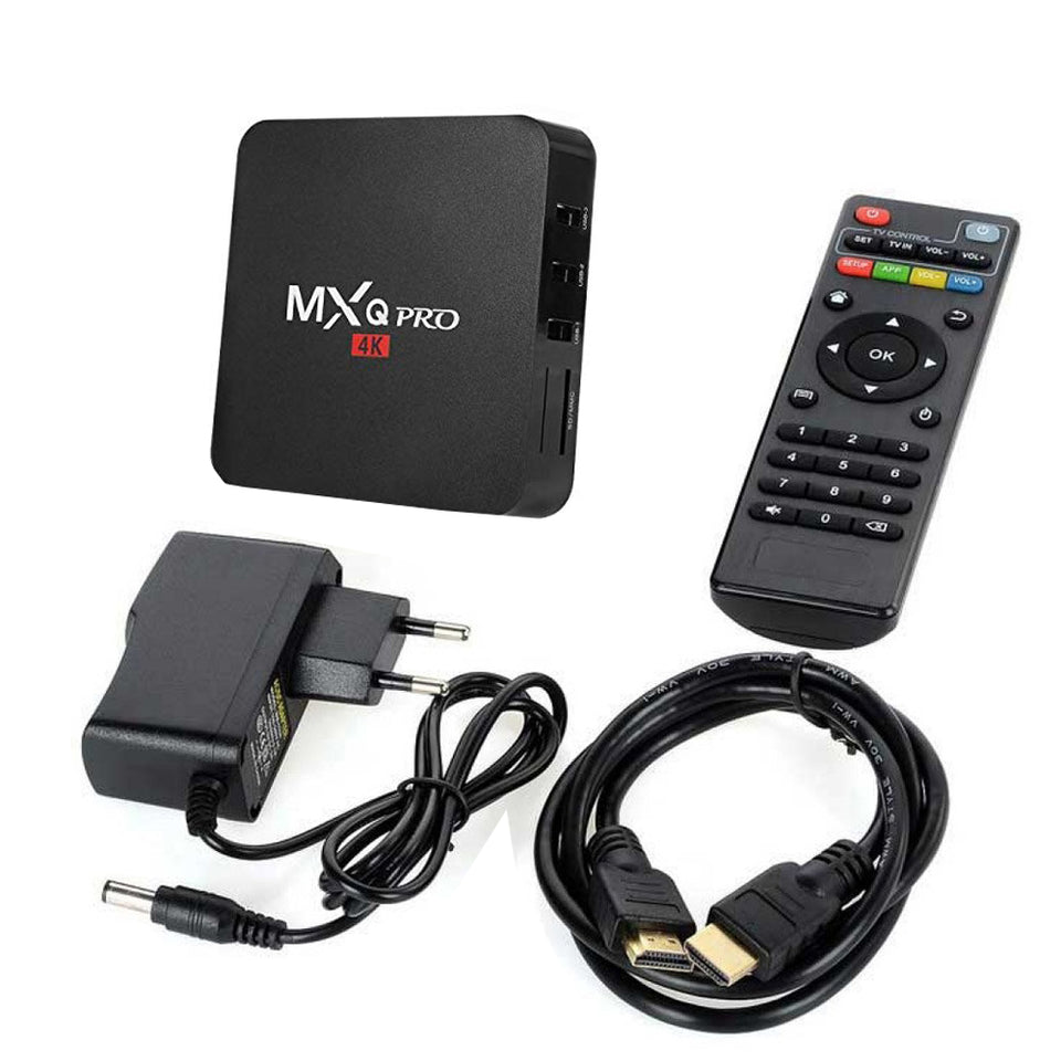 MXQ Pro 4K Android TV Box 1GB RAM/8GB ROM 64 Bit Quad Core Wi-Fi UHD Smart TV Box