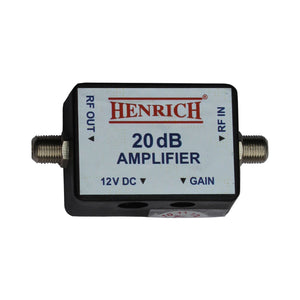 henrich RF 20 dB DC 12 Volt Booster Cable TV Signal Amplifier with Gain Control