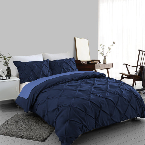 Navy Pin tuck Duvet Cover 100% Cotton Bedding Sets Single Double King Super King Sizes - Threadnine