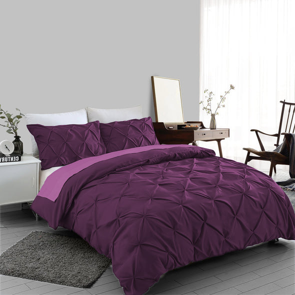 Plum Pin tuck Duvet Cover 100% Cotton Bedding Sets Single Double King Super King Sizes - Threadnine