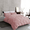 Dusky Pink Pintuck Duvet Cover with Pillow Cases 100% Cotton Sets Double King Super King Sizes - Threadnine