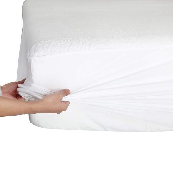 40cm Extra Deep Waterproof Terry Mattress Protector Bed Cover Single Double King Super King Size - Threadnine
