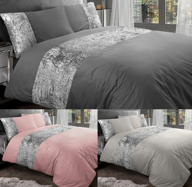 Crushed Velvet Duvet Cover With Pillow Cases 100% Egyptian Cotton Bedding Sets Double King Super King Size - Threadnine