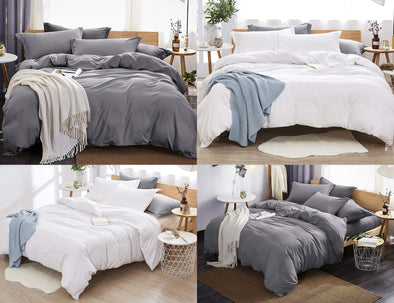 100% Egyptian Cotton Duvet Cover / Pillow Cases Bedding Sets Single Double King Size - Threadnine