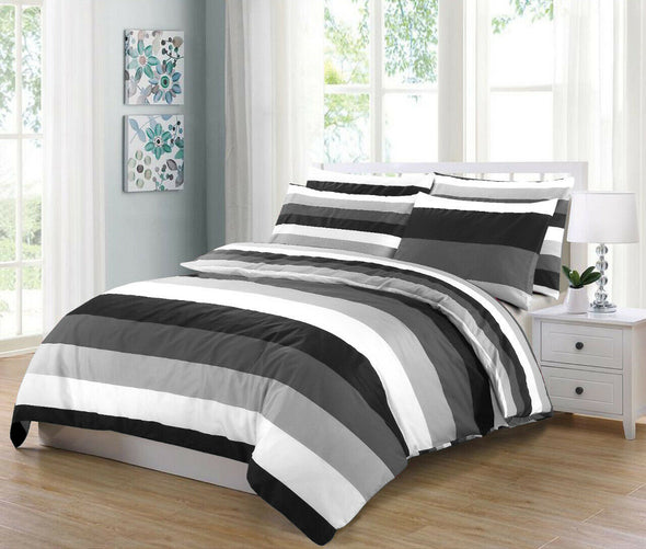 Grey Stripe Reversible Duvet Cover Set 100% Cotton Double King Super King Size Bedding Sets - Threadnine
