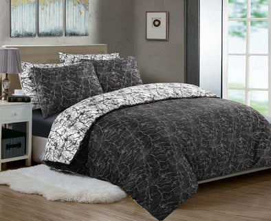 Printed Duvet Cover with Pillowcases 100% Cotton Double King Super King Size Bedding Sets - Threadnine