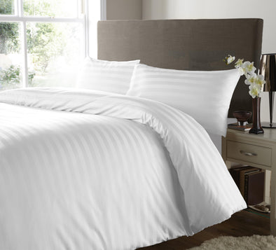 600 Thread Count Satin Stripe White Duvet Cover with Pillowcases 100% Egyptian Cotton Bedding Set - Threadnine