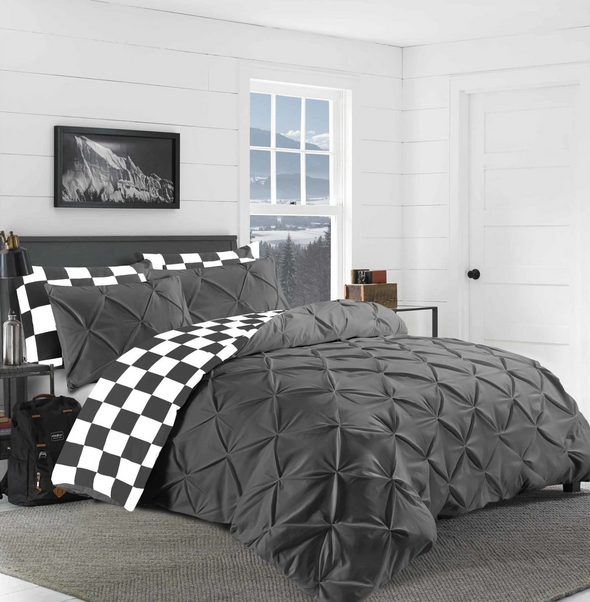 Charcoal Grey Pin tuck Duvet Cover 100% Cotton Bedding Sets Single Double King Super King Sizes - Threadnine