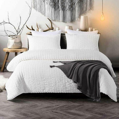 Seersucker White Duvet Cover Set 200 Thread Count 100% Egyptian Cotton Quilt Covers Bedding Sets - Threadnine