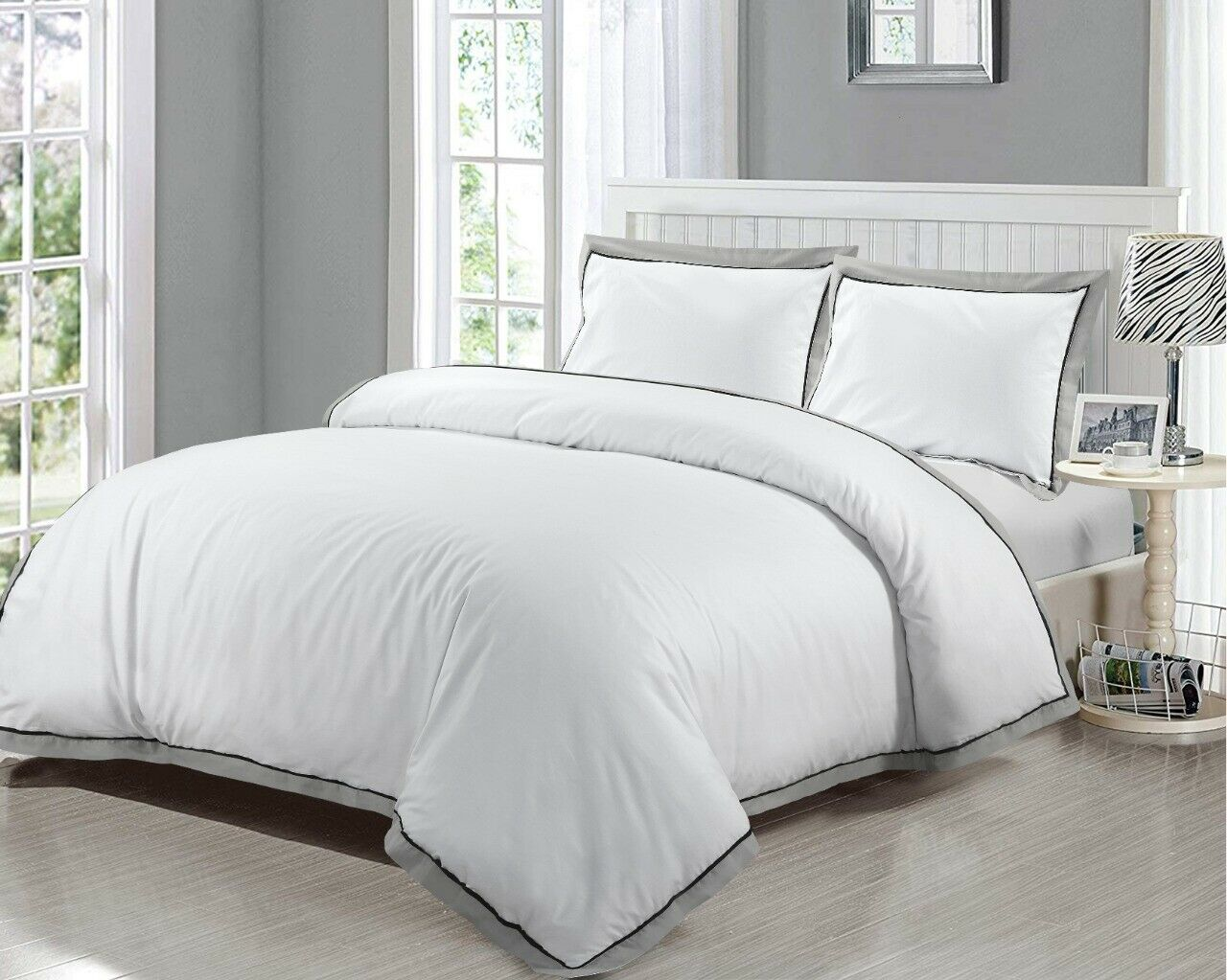 White Duvet Cover With Pillow Cases 100 Egyptian Cotton 400 Thread Co Threadnine