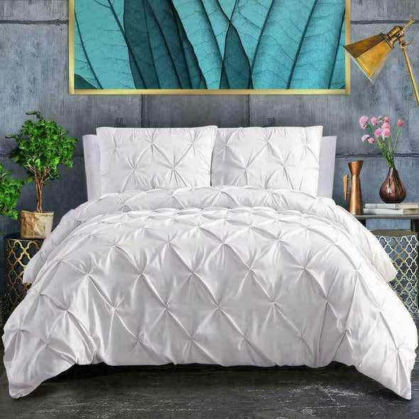 Pin Tuck Duvet Cover with Pillowcases 100% Cotton Bedding Set Single Double King Super King Sizes - Threadnine