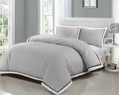 Grey Oxford Duvet Cover Set 400 Thread Count 100% Egyptian Cotton Bedding Sets - Threadnine