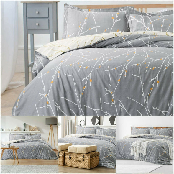 WHITE BRANCHES DUVET COVER 100% EGYPTIAN COTTON QUILT COVERS BEDDING SETS DOUBLE KING SIZE - Threadnine