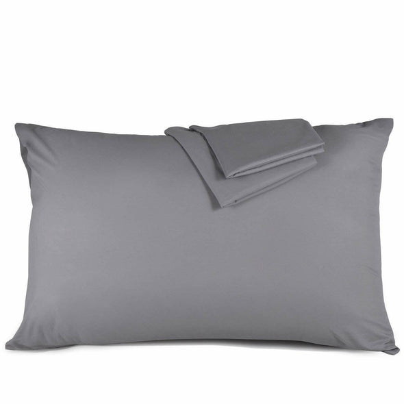 400tc Housewife Pillow Case Pair 100% Egyptian Cotton Bed Pillowcase Cover White Grey - Threadnine
