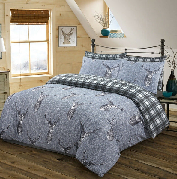 Stag Duvet Cover With Pillow Cases 100% Cotton Quilt Covers Bedding Sets Double King Size - Threadnine