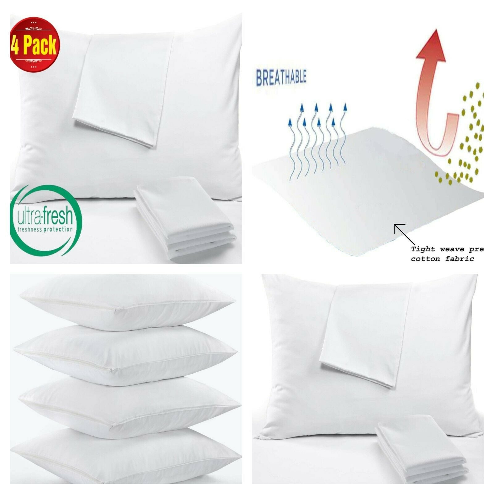 100/% EGYPTIAN COTTON 200 THREAD COUNT PAIR OF HOUSEWIFE PILLOWCASES PILLOW CASES