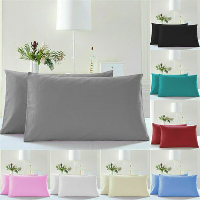 Pack of 4 Housewife Pillow Cases 100% Egyptian Cotton 200 Thread Count Pillowcase Pair - Threadnine