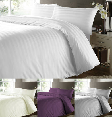 500 Thread Count Satin Stripe Duvet Cover with Pillowcases 100% Egyptian Cotton Bedding Set - Threadnine