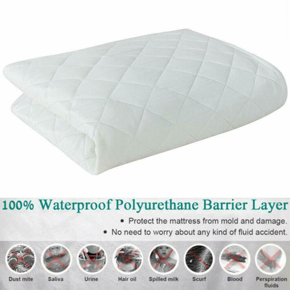 Extra Deep Waterproof Quilted Mattress Protector 100% Cotton Single Double King Super King Size - Threadnine