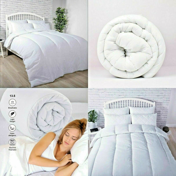 Luxury Hotel Quality 100% Cotton Duvet Single Double King Size Quilts 10.5 13.5 Tog - Threadnine