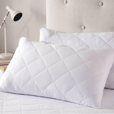 Luxury Quilted Zipped Pillow Protector Soft Pillows Pair 100% Cotton Pack of 4 Covers - Threadnine