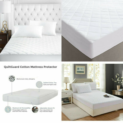 40cm Extra Deep Quilted Mattress Protector 100% Cotton Cover Single Double King Super King Size - Threadnine