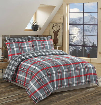 Red Check Reversible Duvet Cover Bedding Set 100% Cotton Double Super King Size - Threadnine