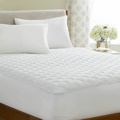40cm Extra Deep Quilted Mattress Protector 100% Cotton Bedding Cover Single Small Double King Super King Size - Threadnine