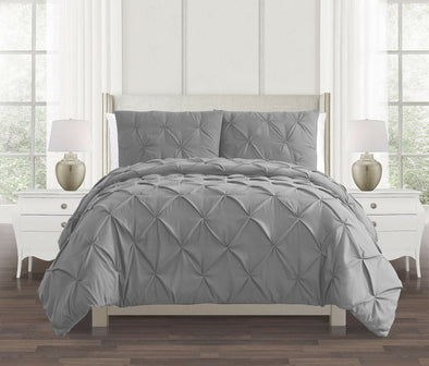 Silver Grey Pin tuck Duvet Cover 100% Cotton Covers Bedding Set Double King Super King Bed Size - Threadnine