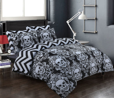 Halloween Baroque Skull Duvet Cover 100% Cotton Reversible Bedding Set Double King Super King Size - Threadnine