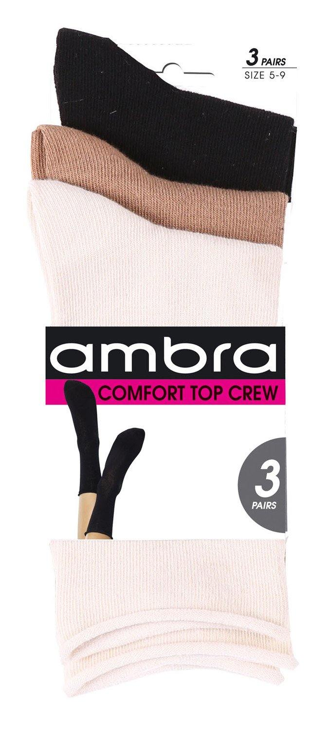 Ambra Comfy Socks 3 Pack - White/Grey/Black