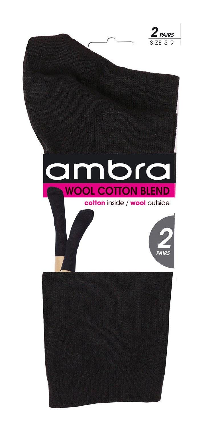 Ambra Wool/Cotton Rib 2 Pack - Black