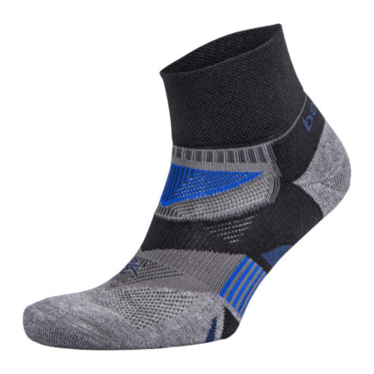 Balega Enduro V-tech Quarter Crew Socks - Black/Grey