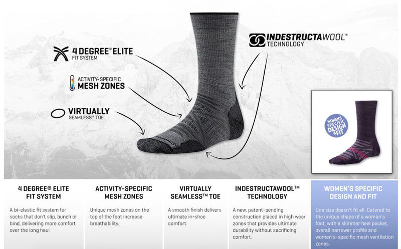 Smartwool Indestructawool™ Women's PhD Outdoor Light Crew Socks - Light Grey