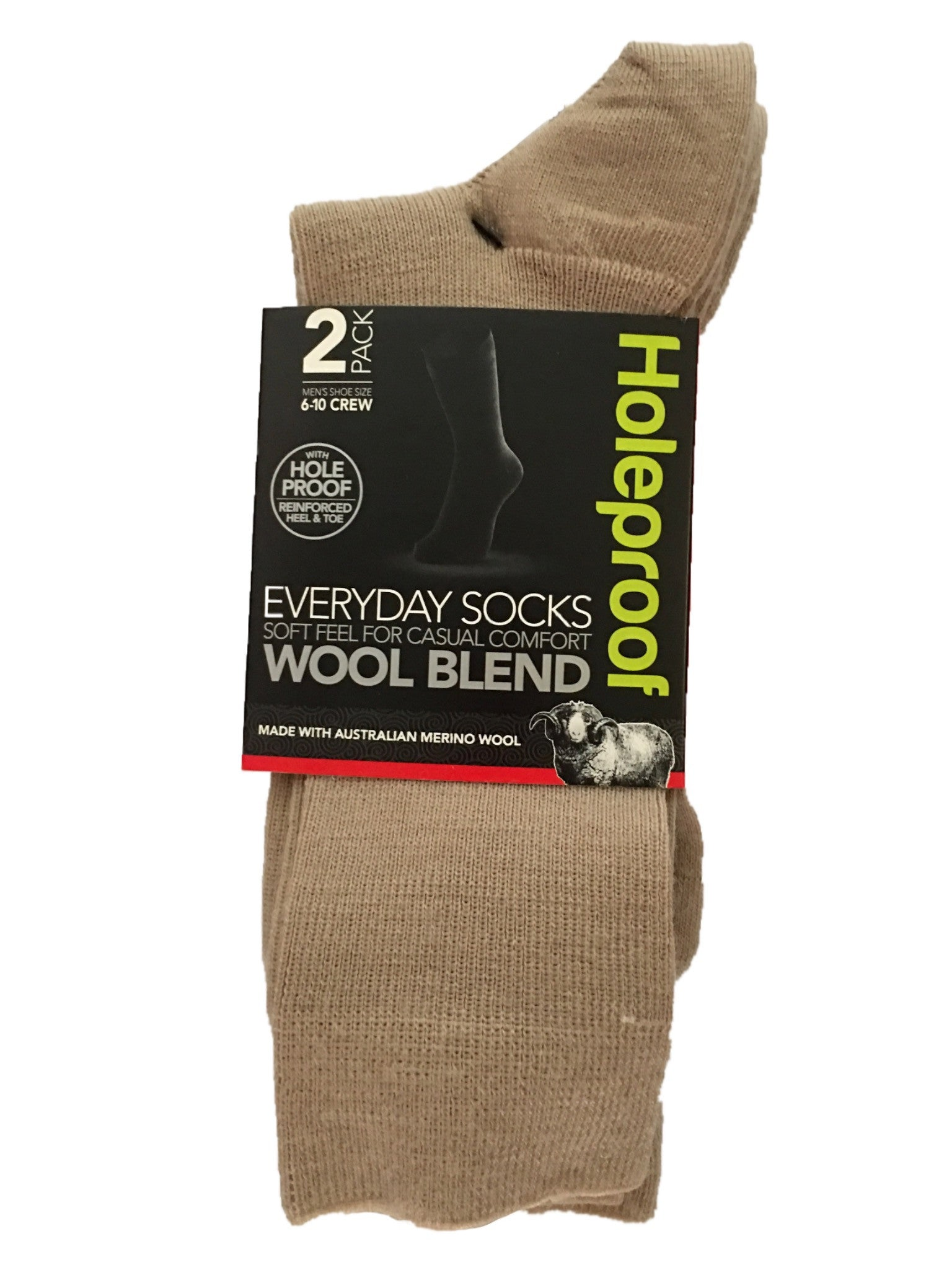 Holeproof Everyday Business Wool Blend 2 Pack - Oatmeal